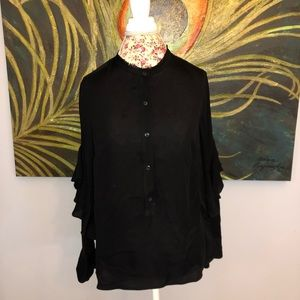 Club Monaco Black Ruffle Sleeve Button up Blouse